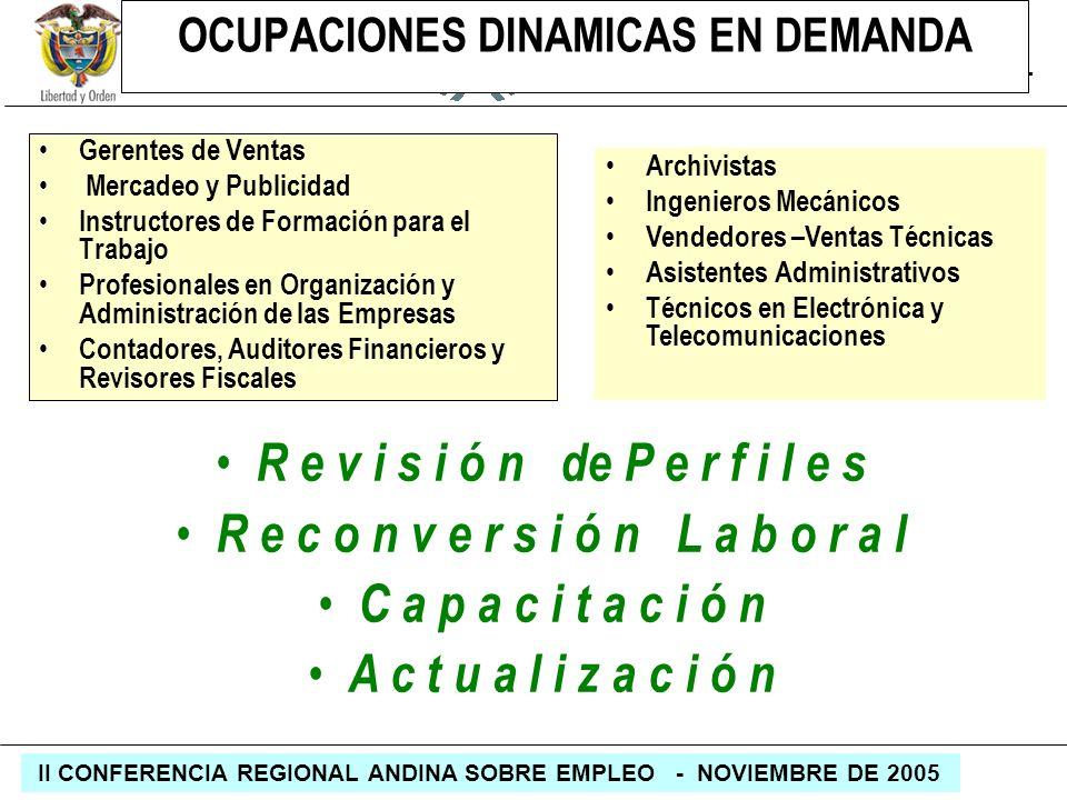 REPÚBLICA DE COLOMBIA MINISTERIO DE LA PROTECCIÓN SOCIAL II CONFERENCIA REGIONAL ANDINA SOBRE EMPLEO - NOVIEMBRE DE 2005 OCUPACIONES DINAMICAS EN DEMA