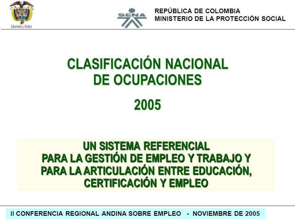 REPÚBLICA DE COLOMBIA MINISTERIO DE LA PROTECCIÓN SOCIAL II CONFERENCIA REGIONAL ANDINA SOBRE EMPLEO - NOVIEMBRE DE 2005 CLASIFICACIÓN NACIONAL DE OCU