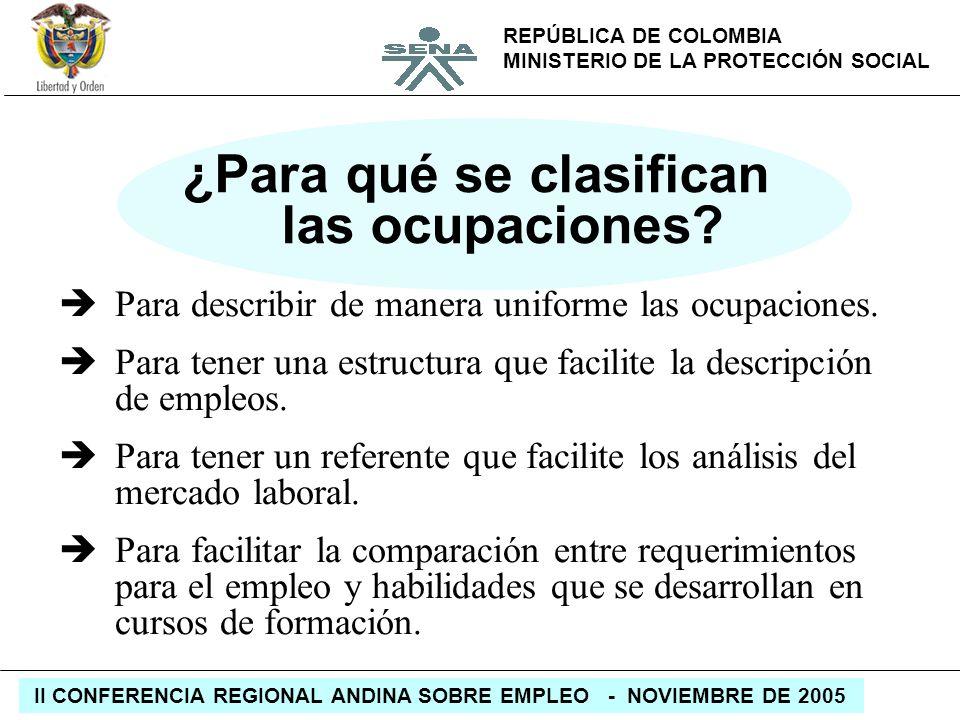REPÚBLICA DE COLOMBIA MINISTERIO DE LA PROTECCIÓN SOCIAL II CONFERENCIA REGIONAL ANDINA SOBRE EMPLEO - NOVIEMBRE DE 2005 ¿Para qué se clasifican las o
