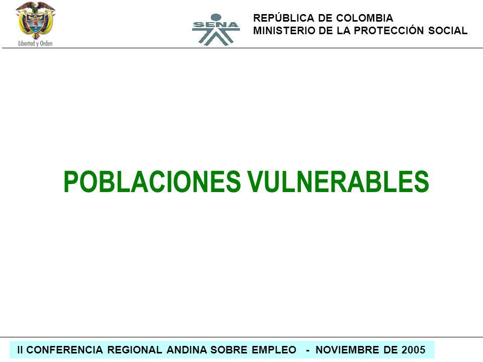REPÚBLICA DE COLOMBIA MINISTERIO DE LA PROTECCIÓN SOCIAL II CONFERENCIA REGIONAL ANDINA SOBRE EMPLEO - NOVIEMBRE DE 2005 POBLACIONES VULNERABLES
