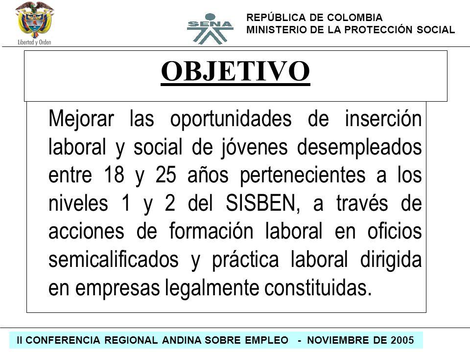 REPÚBLICA DE COLOMBIA MINISTERIO DE LA PROTECCIÓN SOCIAL II CONFERENCIA REGIONAL ANDINA SOBRE EMPLEO - NOVIEMBRE DE 2005 OBJETIVO Mejorar las oportuni