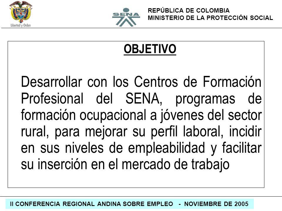 REPÚBLICA DE COLOMBIA MINISTERIO DE LA PROTECCIÓN SOCIAL II CONFERENCIA REGIONAL ANDINA SOBRE EMPLEO - NOVIEMBRE DE 2005 OBJETIVO Desarrollar con los