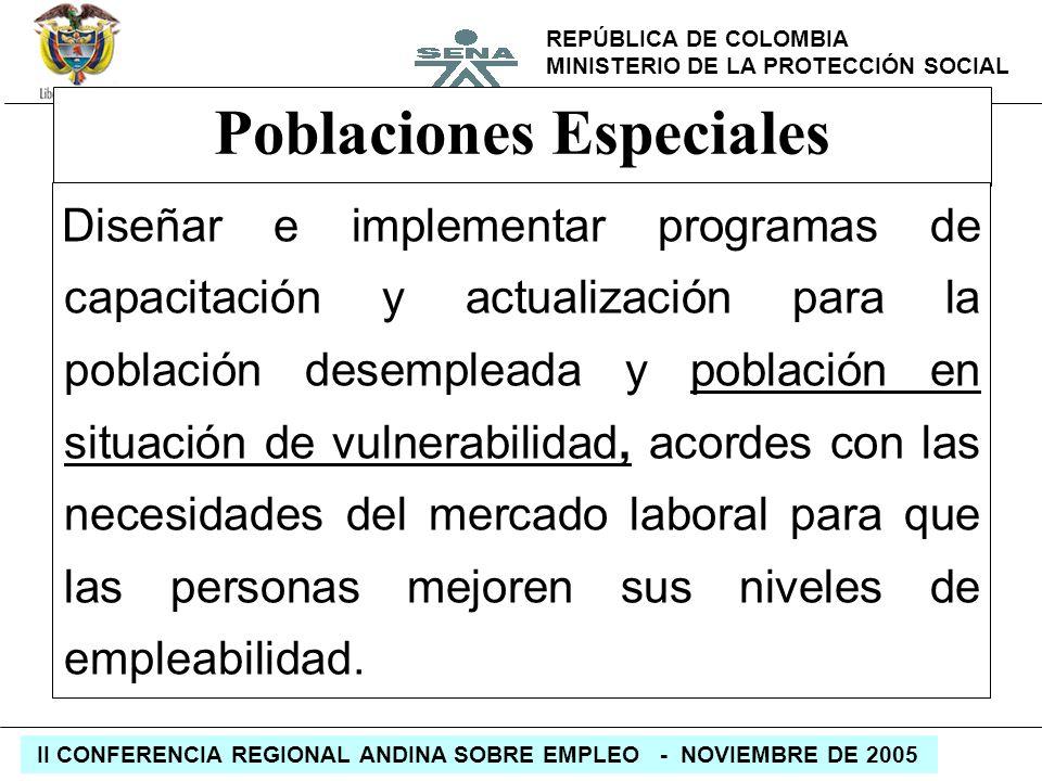 REPÚBLICA DE COLOMBIA MINISTERIO DE LA PROTECCIÓN SOCIAL II CONFERENCIA REGIONAL ANDINA SOBRE EMPLEO - NOVIEMBRE DE 2005 Poblaciones Especiales Diseña