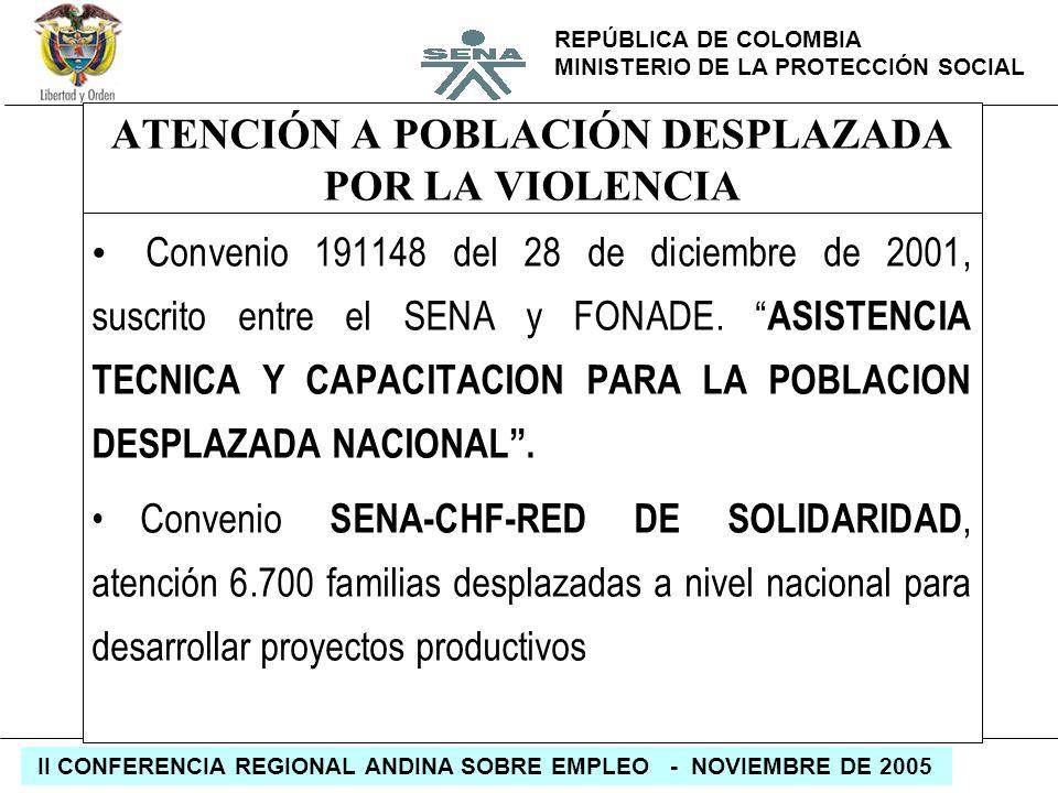 REPÚBLICA DE COLOMBIA MINISTERIO DE LA PROTECCIÓN SOCIAL II CONFERENCIA REGIONAL ANDINA SOBRE EMPLEO - NOVIEMBRE DE 2005 ATENCIÓN A POBLACIÓN DESPLAZA