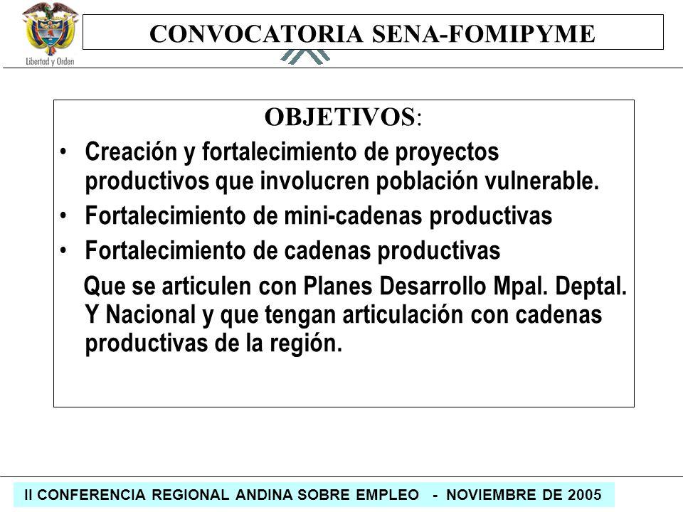 REPÚBLICA DE COLOMBIA MINISTERIO DE LA PROTECCIÓN SOCIAL II CONFERENCIA REGIONAL ANDINA SOBRE EMPLEO - NOVIEMBRE DE 2005 CONVOCATORIA SENA-FOMIPYME OB