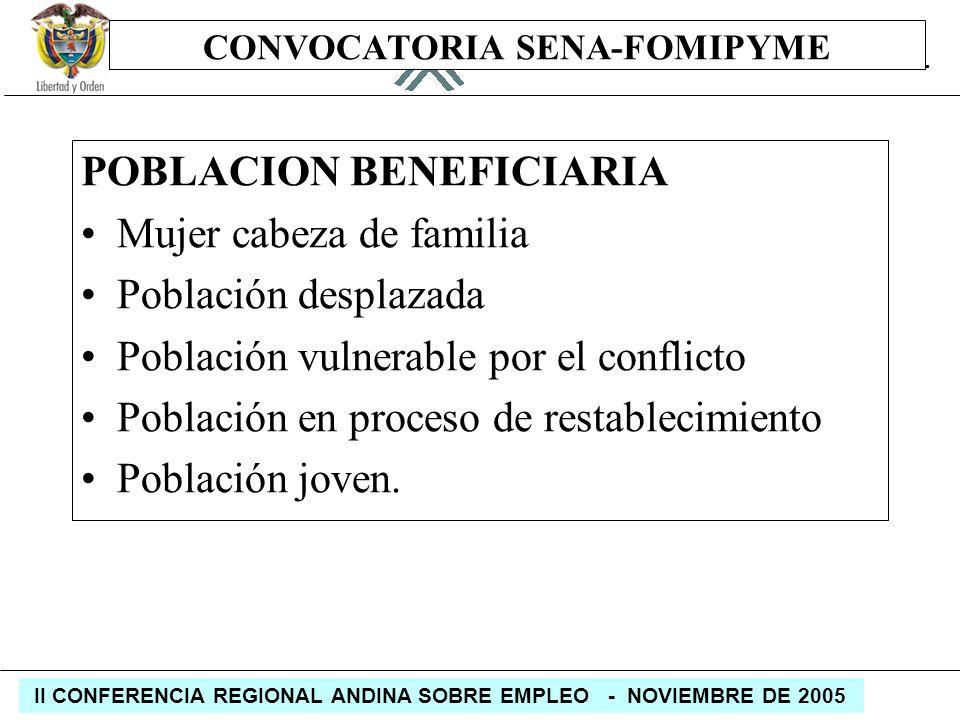 REPÚBLICA DE COLOMBIA MINISTERIO DE LA PROTECCIÓN SOCIAL II CONFERENCIA REGIONAL ANDINA SOBRE EMPLEO - NOVIEMBRE DE 2005 CONVOCATORIA SENA-FOMIPYME PO