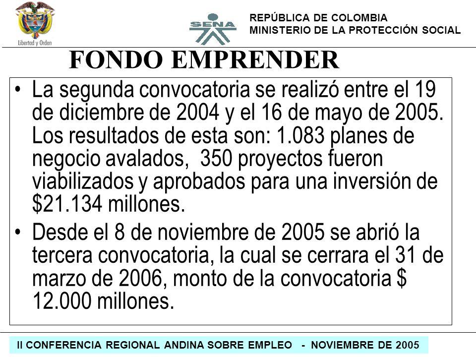 REPÚBLICA DE COLOMBIA MINISTERIO DE LA PROTECCIÓN SOCIAL II CONFERENCIA REGIONAL ANDINA SOBRE EMPLEO - NOVIEMBRE DE 2005 FONDO EMPRENDER La segunda co