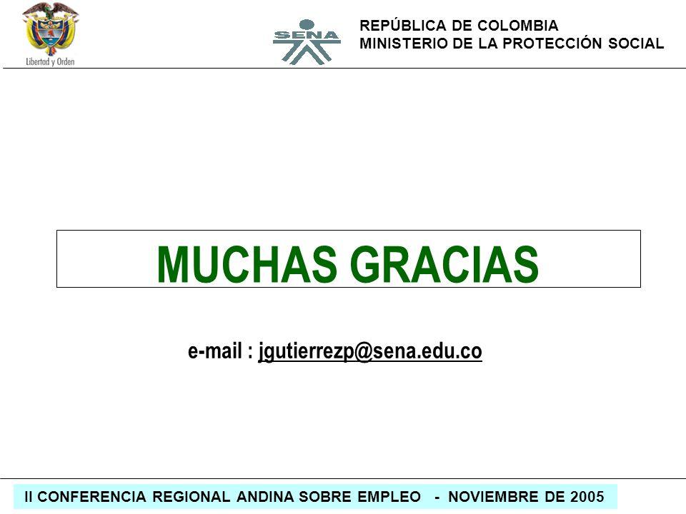 REPÚBLICA DE COLOMBIA MINISTERIO DE LA PROTECCIÓN SOCIAL II CONFERENCIA REGIONAL ANDINA SOBRE EMPLEO - NOVIEMBRE DE 2005 MUCHAS GRACIAS e-mail : jguti