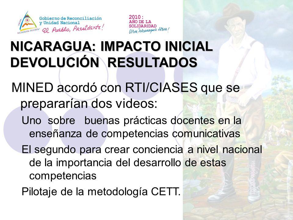 NICARAGUA: IMPACTO INICIAL DEVOLUCIÓN RESULTADOS MINED acordó con RTI/CIASES que se prepararían dos videos: Uno sobre buenas prácticas docentes en la