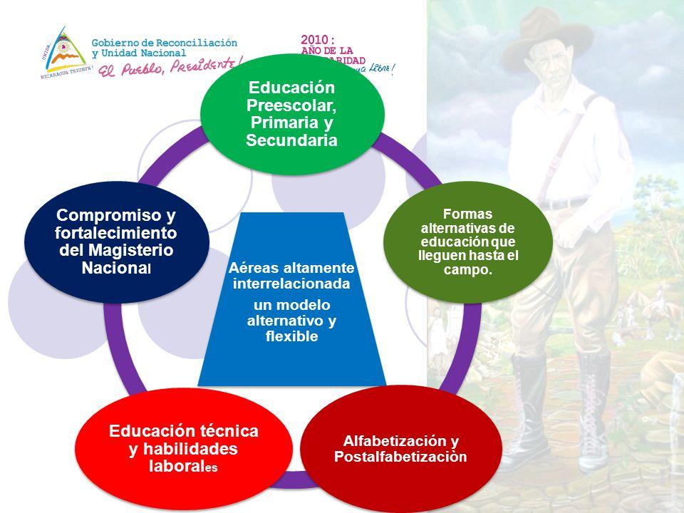 Aéreas altamente interrelacionada un modelo alternativo y flexible Educación Preescolar, Primaria y Secundaria Formas alternativas de educación que ll