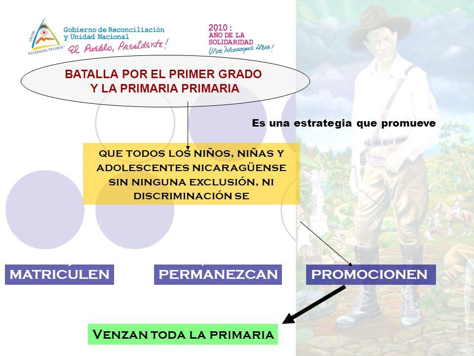 BATALLA POR EL PRIMER GRADO Y LA PRIMARIA PRIMARIA Es una estrategia que promueve que todos los niños, niñas y adolescentes nicaragüense sin ninguna e