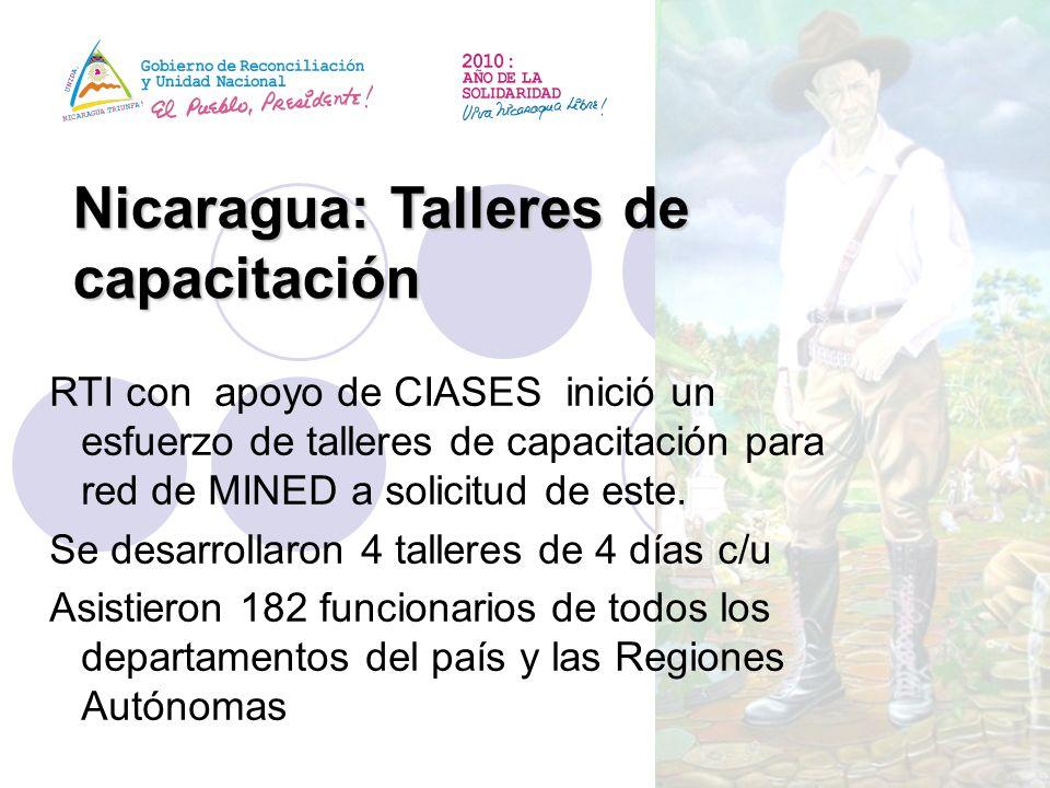 Nicaragua: Talleres de capacitación RTI con apoyo de CIASES inició un esfuerzo de talleres de capacitación para red de MINED a solicitud de este. Se d