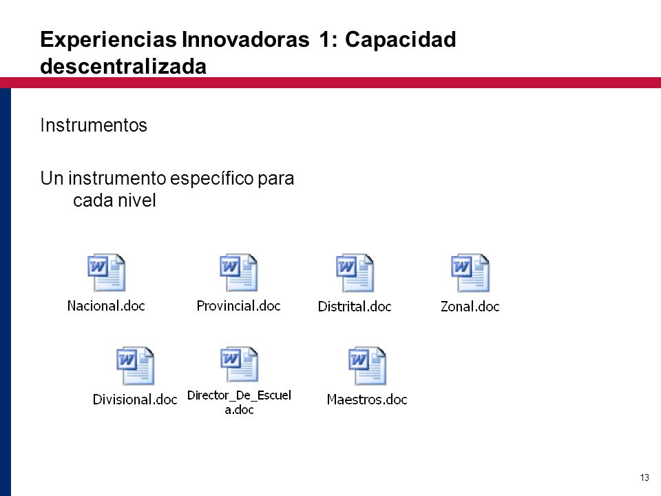 13 Experiencias Innovadoras 1: Capacidad descentralizada Instrumentos Un instrumento específico para cada nivel