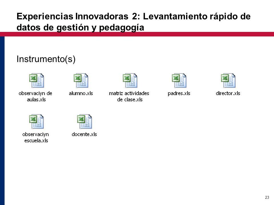 23 Experiencias Innovadoras 2: Levantamiento rápido de datos de gestión y pedagogía Instrumento(s)