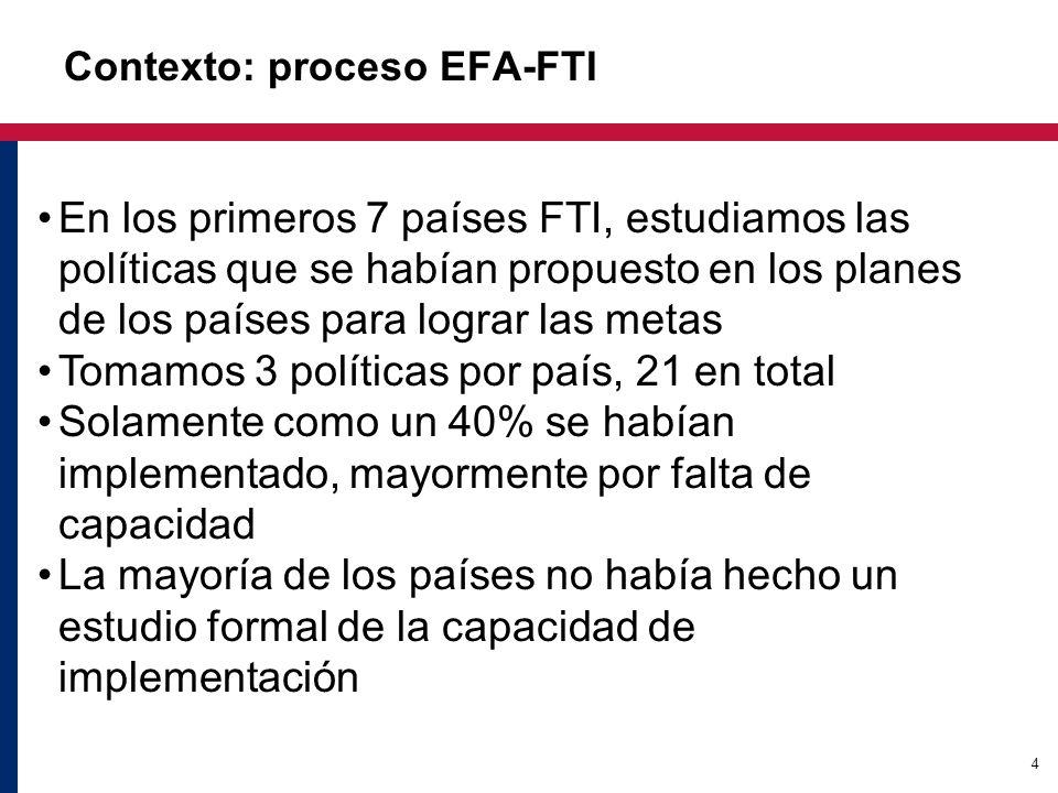 4 Contexto: proceso EFA-FTI En los primeros 7 países FTI, estudiamos las políticas que se habían propuesto en los planes de los países para lograr las metas Tomamos 3 políticas por país, 21 en total Solamente como un 40% se habían implementado, mayormente por falta de capacidad La mayoría de los países no había hecho un estudio formal de la capacidad de implementación