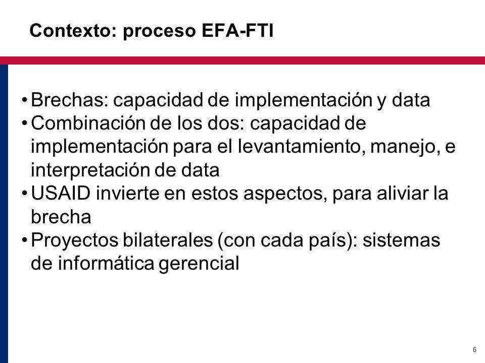 6 Contexto: proceso EFA-FTI Brechas: capacidad de implementación y data Combinación de los dos: capacidad de implementación para el levantamiento, manejo, e interpretación de data USAID invierte en estos aspectos, para aliviar la brecha Proyectos bilaterales (con cada país): sistemas de informática gerencial
