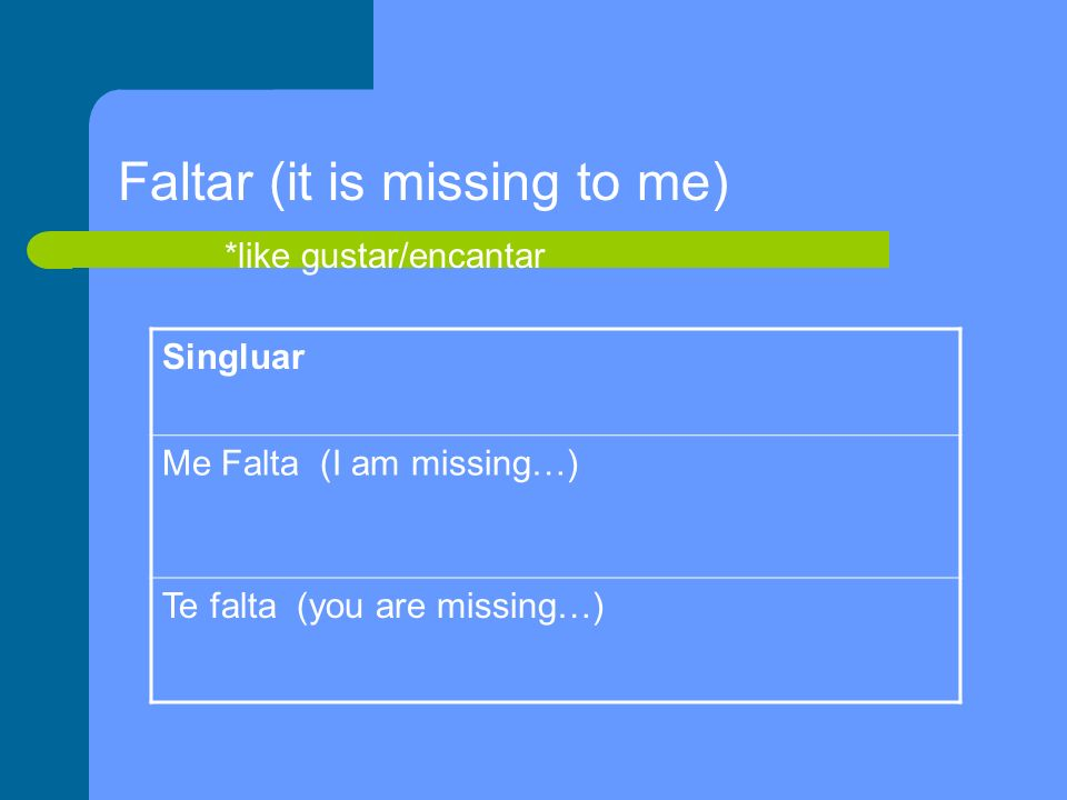 Singluar Me Falta (I am missing…) Te falta (you are missing…) Faltar (it is missing to me) *like gustar/encantar