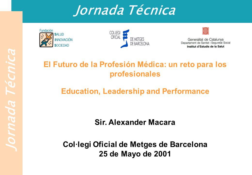 Jornada Técnica El Futuro de la Profesión Médica: un reto para los profesionales Education, Leadership and Performance Sir. Alexander Macara Col·legi