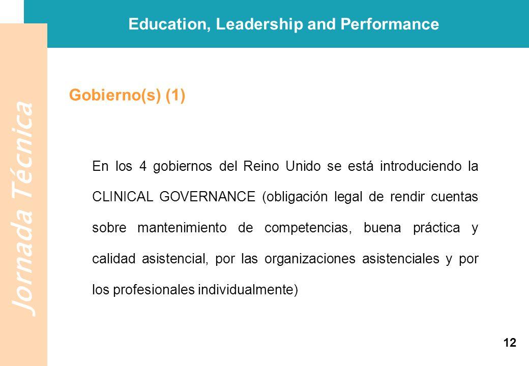 Jornada Técnica Education, Leadership and Performance Gobierno(s) (1) En los 4 gobiernos del Reino Unido se está introduciendo la CLINICAL GOVERNANCE