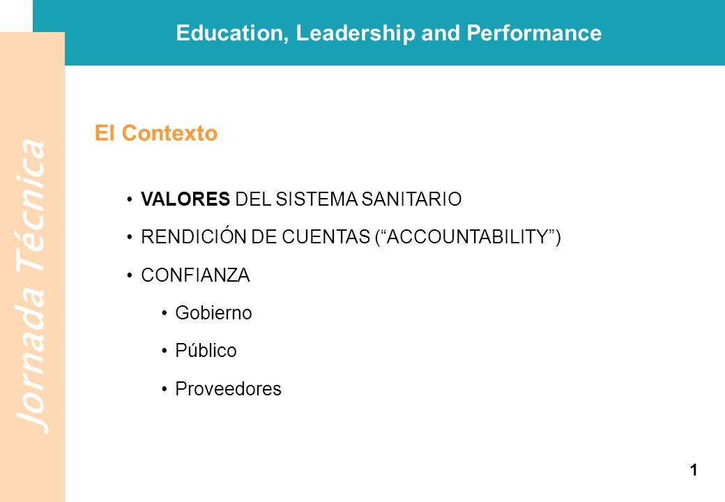 Jornada Técnica El Contexto VALORES DEL SISTEMA SANITARIO RENDICIÓN DE CUENTAS (ACCOUNTABILITY) CONFIANZA Gobierno Público Proveedores Education, Lead