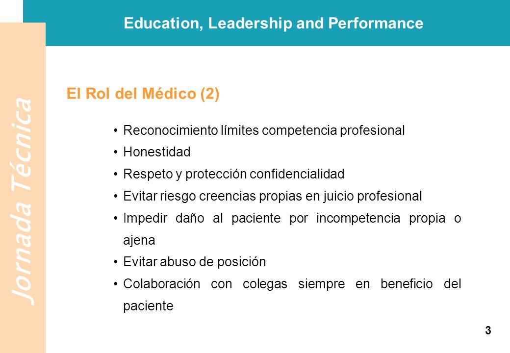 Jornada Técnica El Rol del Médico (2) Education, Leadership and Performance Reconocimiento límites competencia profesional Honestidad Respeto y protec
