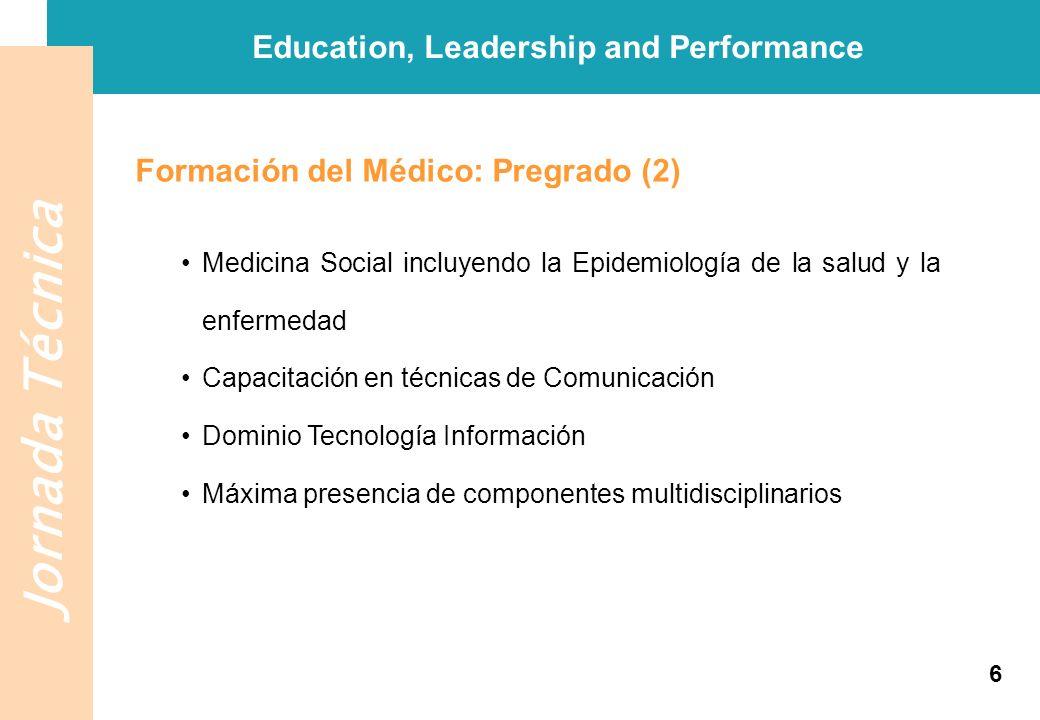 Jornada Técnica Education, Leadership and Performance Formación del Médico: Postgraduada (3) Adquisición de competencias y habilidades generales así como experiencia práctica relevantes para cualquier ámbito del ejercicio profesional 7