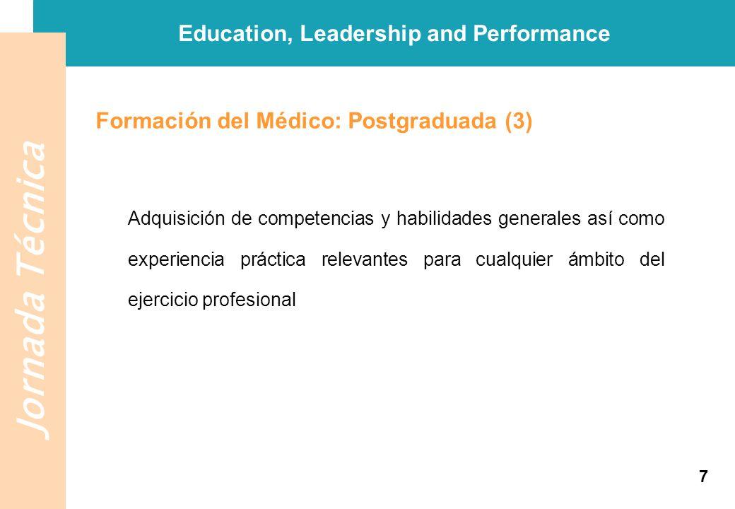 Jornada Técnica Education, Leadership and Performance Formación del Médico: Postgraduada (3) Adquisición de competencias y habilidades generales así c