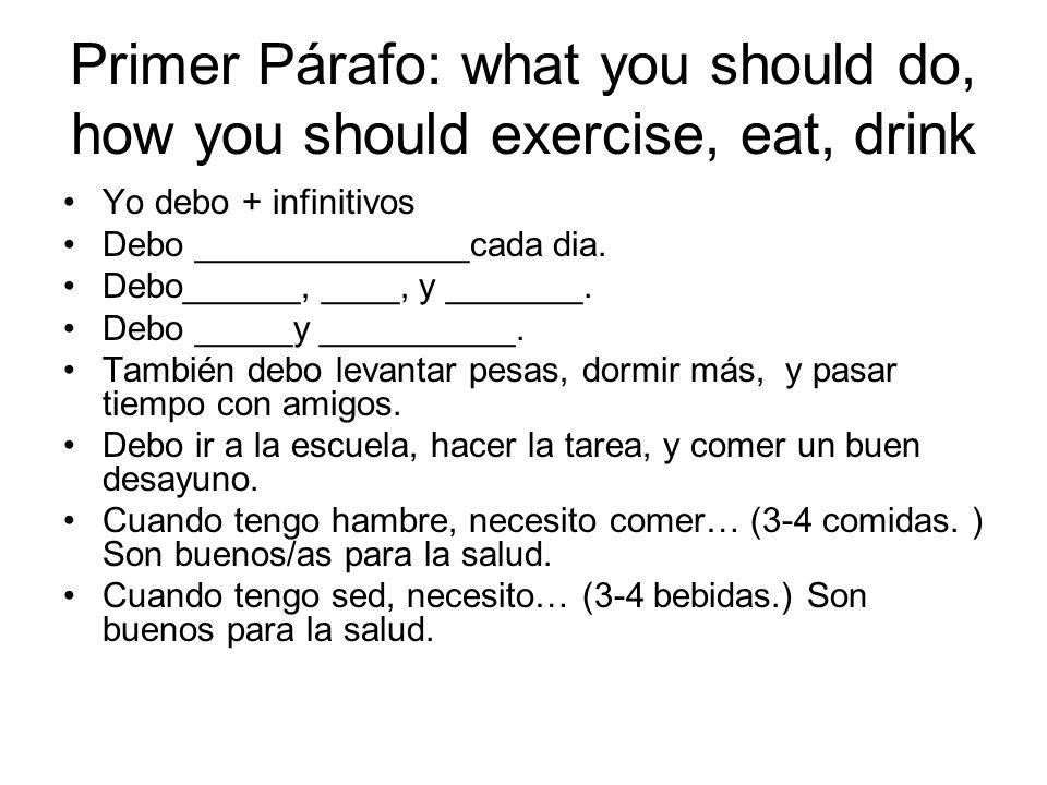 Segundo Párafo: what you should not do, not eat, not drink Use negatives like nunca, ni …ni… No debo __________.
