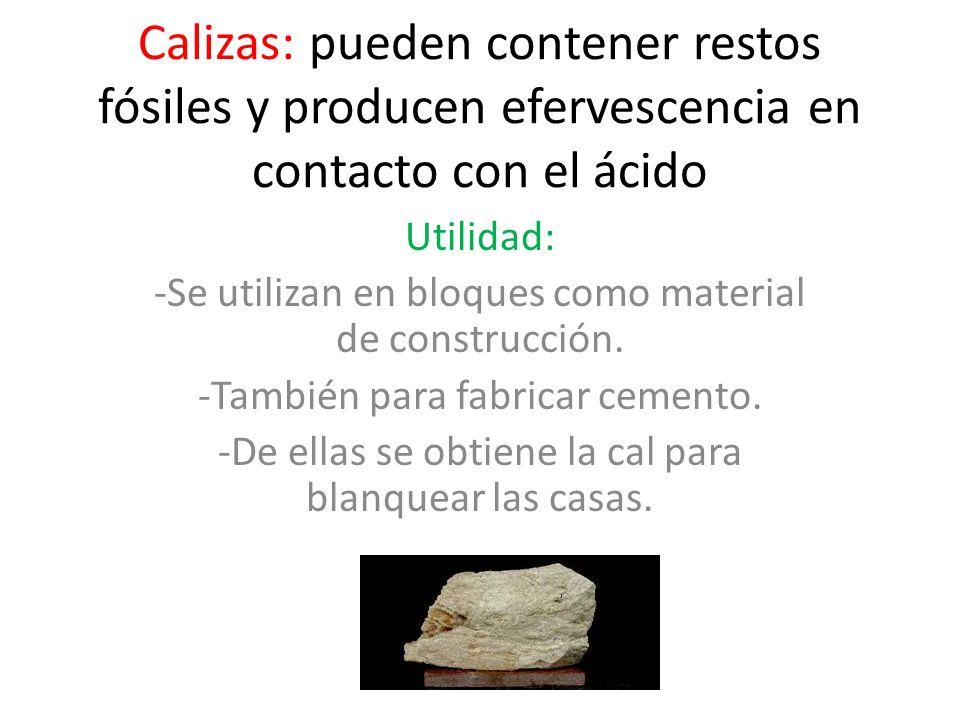 Calizas: pueden contener restos fósiles y producen efervescencia en contacto con el ácido Utilidad: -Se utilizan en bloques como material de construcc