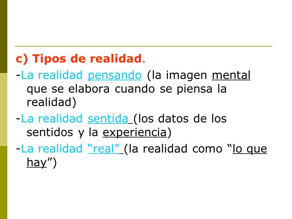 c) Tipos de realidad. -La realidad pensando (la imagen mental que se elabora cuando se piensa la realidad) -La realidad sentida (los datos de los sent