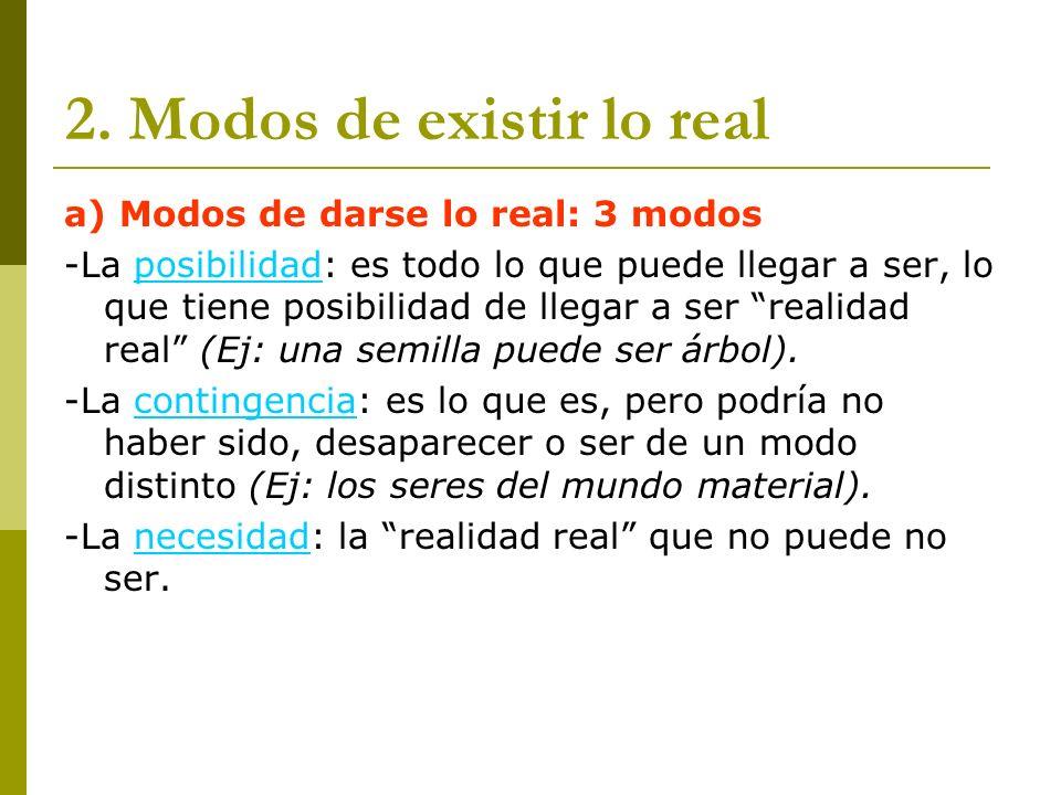 2. Modos de existir lo real a) Modos de darse lo real: 3 modos -La posibilidad: es todo lo que puede llegar a ser, lo que tiene posibilidad de llegar