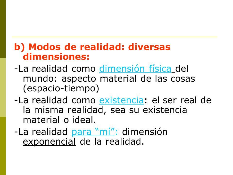 b) Modos de realidad: diversas dimensiones: -La realidad como dimensión física del mundo: aspecto material de las cosas (espacio-tiempo) -La realidad