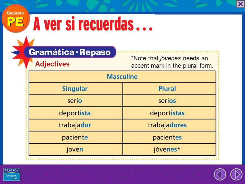 Adjectives *Note that jóvenes needs an accent mark in the plural form.