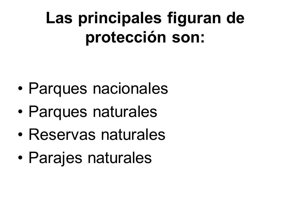 Las principales figuran de protección son: Parques nacionales Parques naturales Reservas naturales Parajes naturales