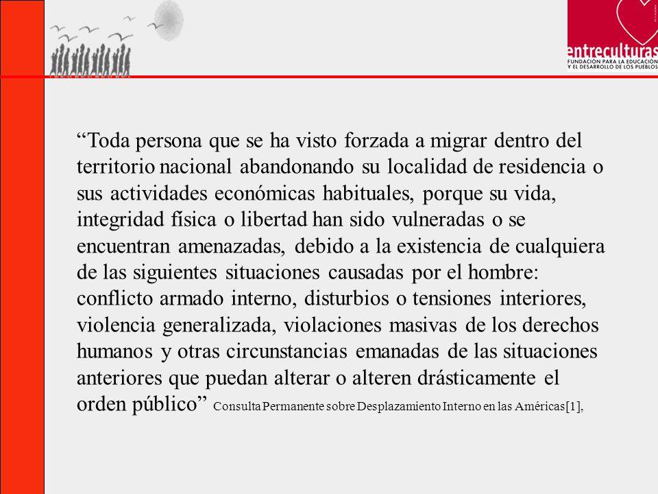 Toda persona que se ha visto forzada a migrar dentro del territorio nacional abandonando su localidad de residencia o sus actividades económicas habit