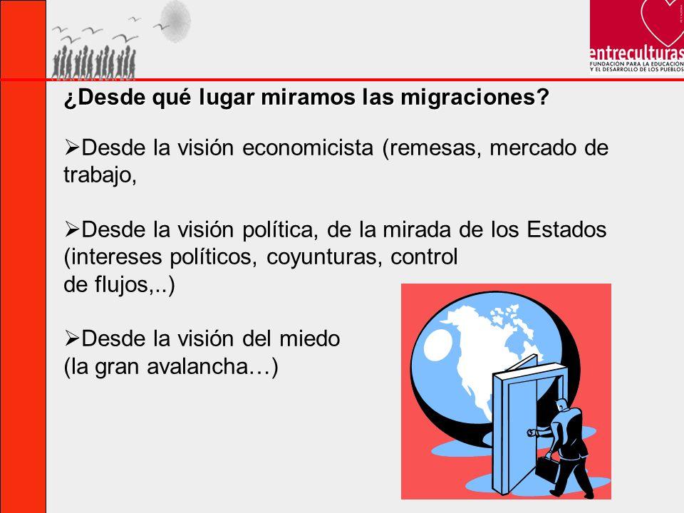 ¿Desde qué lugar miramos las migraciones? Desde la visión economicista (remesas, mercado de trabajo, Desde la visión política, de la mirada de los Est