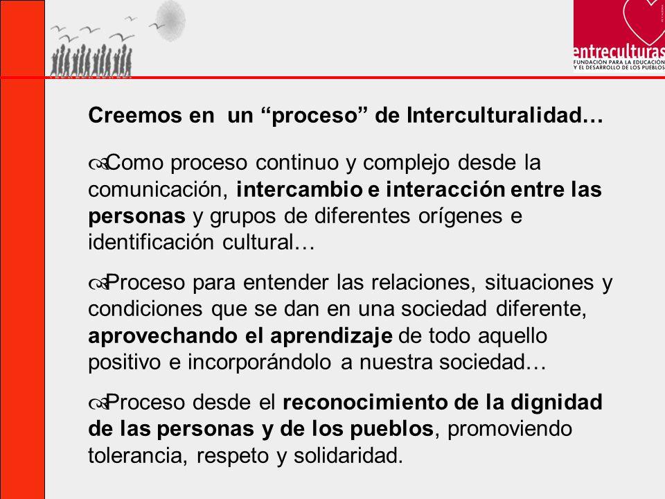 Como proceso continuo y complejo desde la comunicación, intercambio e interacción entre las personas y grupos de diferentes orígenes e identificación