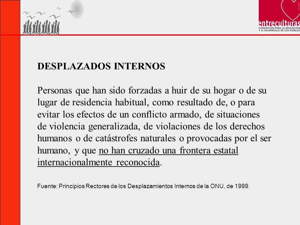 DESPLAZADOS INTERNOS Personas que han sido forzadas a huir de su hogar o de su lugar de residencia habitual, como resultado de, o para evitar los efec