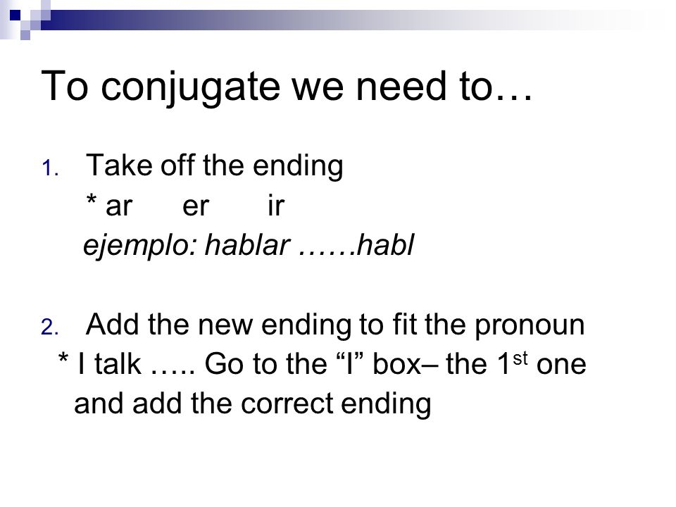 To conjugate we need to… 1. Take off the ending * ar er ir ejemplo: hablar ……habl 2. Add the new ending to fit the pronoun * I talk ….. Go to the I bo