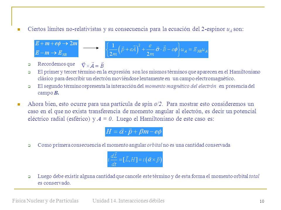 Unidad 14. Interacciones débilesFísica Nuclear y de Partículas 10 Ciertos límites no-relativistas y su consecuencia para la ecuación del 2-espinor u A