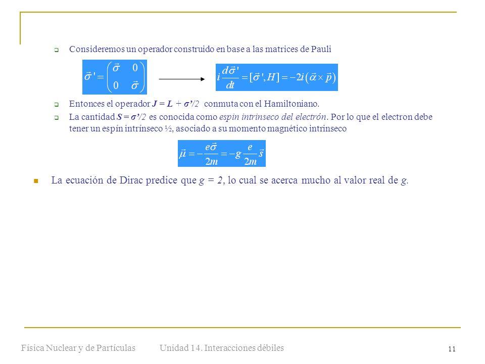 Unidad 14. Interacciones débilesFísica Nuclear y de Partículas 11 Consideremos un operador construido en base a las matrices de Pauli Entonces el oper
