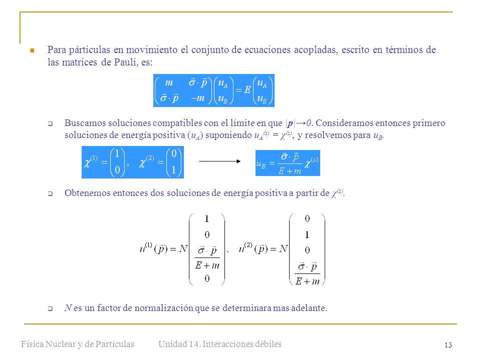 Unidad 14. Interacciones débilesFísica Nuclear y de Partículas 13 Para párticulas en movimiento el conjunto de ecuaciones acopladas, escrito en términ