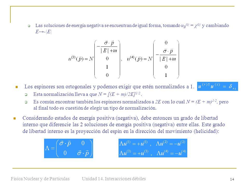 Unidad 14. Interacciones débilesFísica Nuclear y de Partículas 14 Las soluciones de energía negativa se encuentran de igual forma, tomando u B (s) = χ