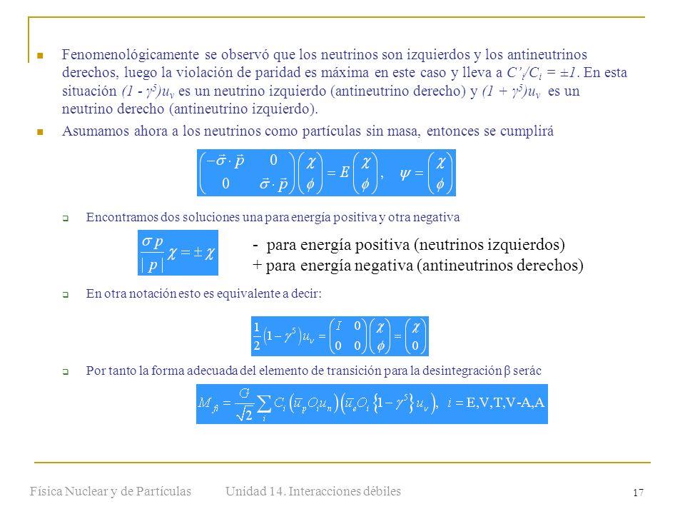 Unidad 14. Interacciones débilesFísica Nuclear y de Partículas 17 Fenomenológicamente se observó que los neutrinos son izquierdos y los antineutrinos