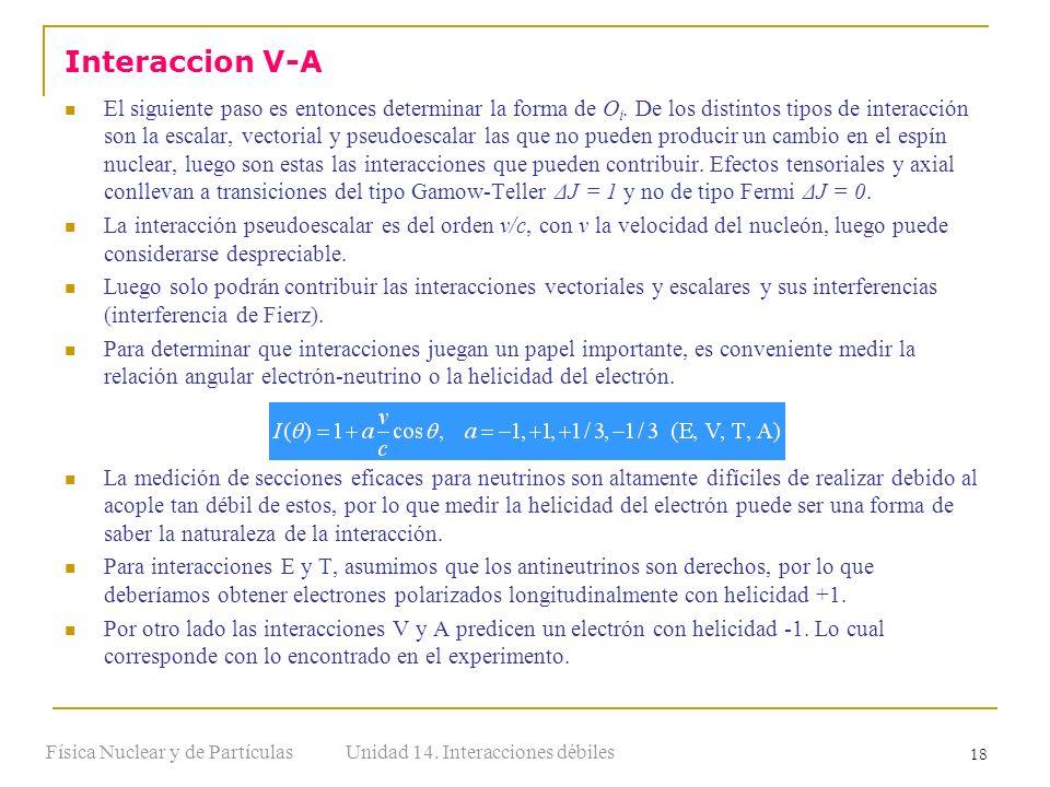 Unidad 14. Interacciones débilesFísica Nuclear y de Partículas 18 El siguiente paso es entonces determinar la forma de O i. De los distintos tipos de