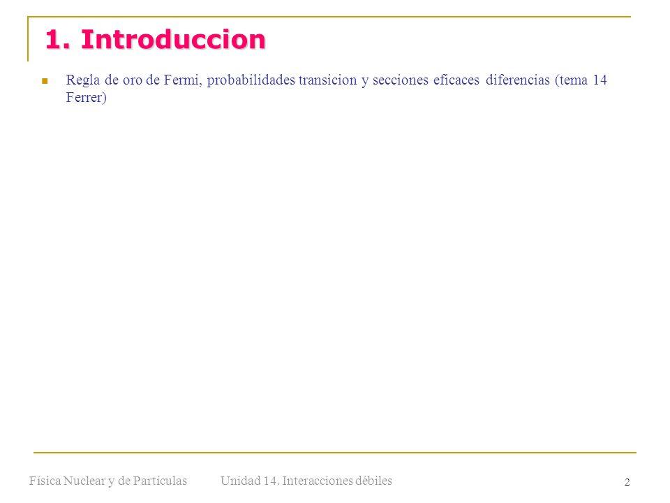 Unidad 14. Interacciones débilesFísica Nuclear y de Partículas 2 Regla de oro de Fermi, probabilidades transicion y secciones eficaces diferencias (te