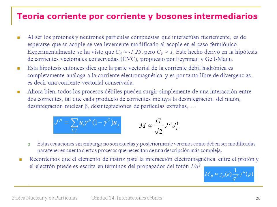 Unidad 14. Interacciones débilesFísica Nuclear y de Partículas 20 Al ser los protones y neutrones partículas compuestas que interactúan fuertemente, e
