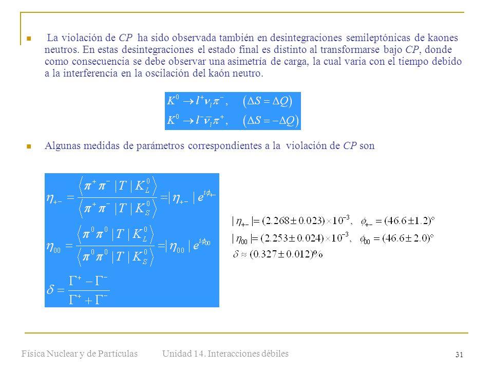 Unidad 14. Interacciones débilesFísica Nuclear y de Partículas 31 La violación de CP ha sido observada también en desintegraciones semileptónicas de k