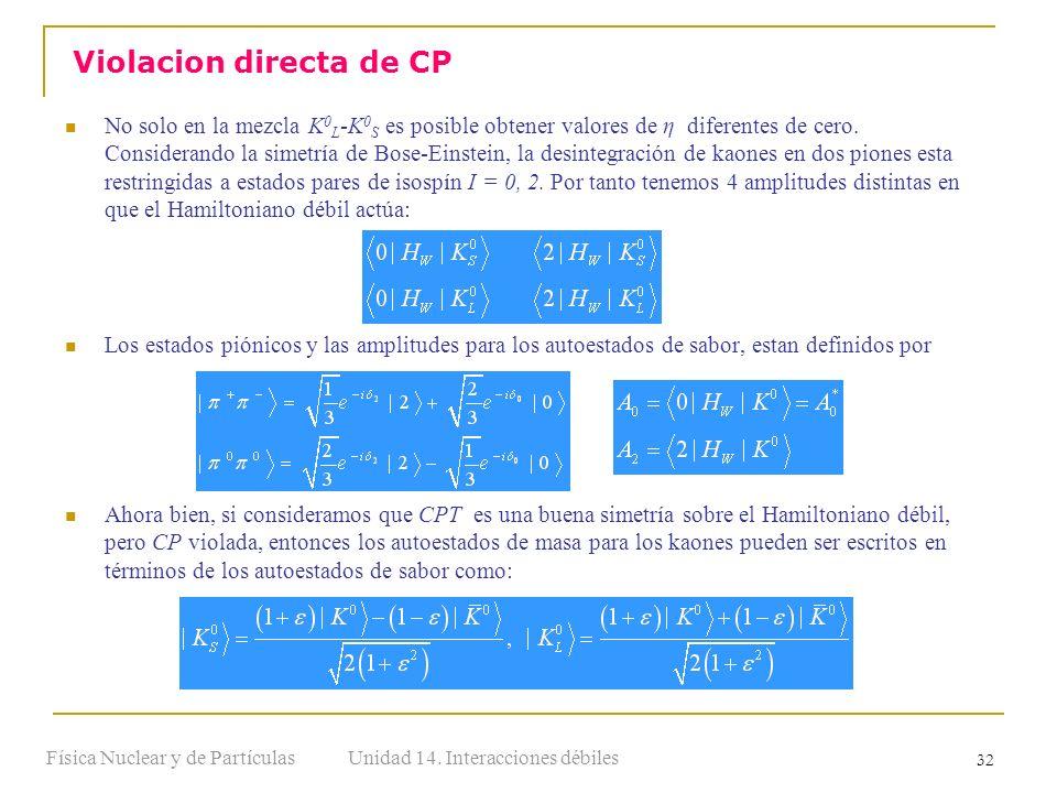 Unidad 14. Interacciones débilesFísica Nuclear y de Partículas 32 No solo en la mezcla K 0 L -K 0 S es posible obtener valores de η diferentes de cero