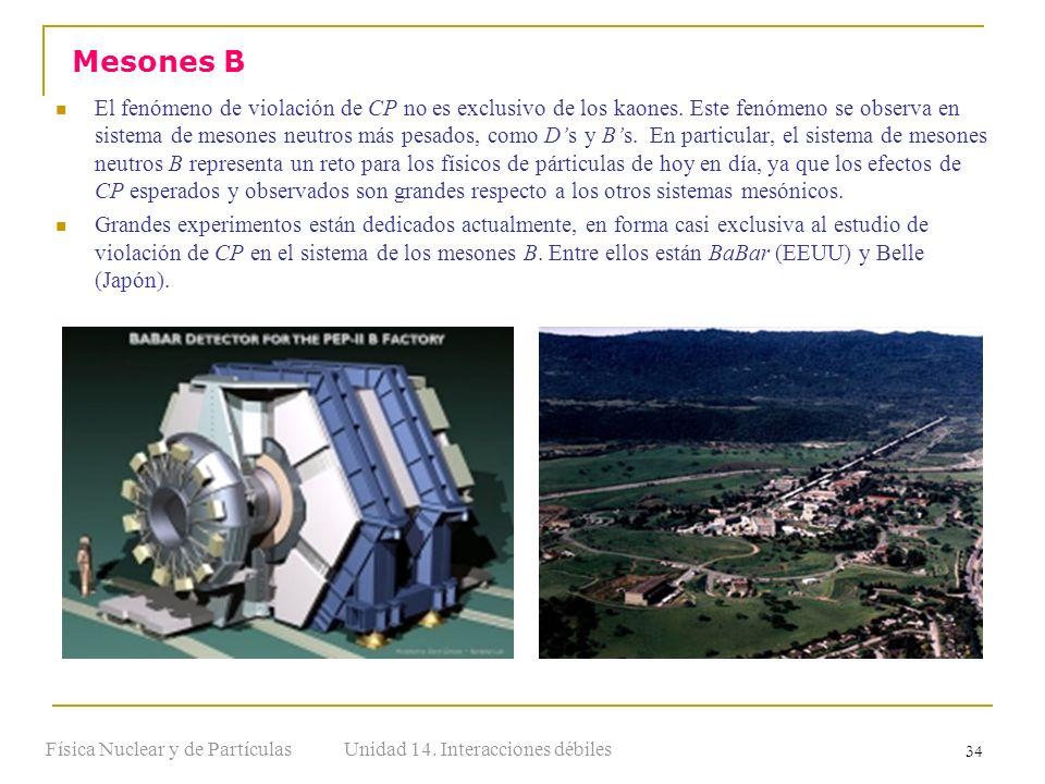 Unidad 14. Interacciones débilesFísica Nuclear y de Partículas 34 El fenómeno de violación de CP no es exclusivo de los kaones. Este fenómeno se obser